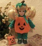 "Blond Girl Doll Wearing Pumpkin Halloween Costume 9"" Keepsake Collectible by Anco Fall Home Decor"