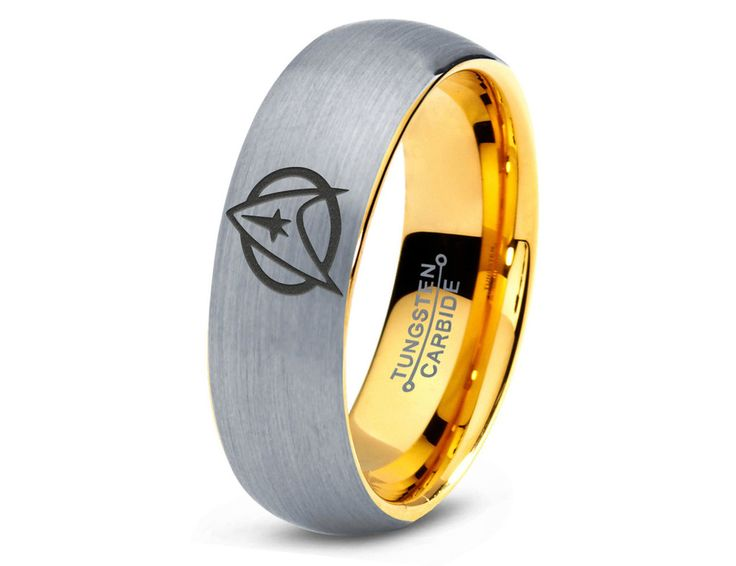 star trek inspired 18k yellow gold silver dome tungsten ring - Star Trek Wedding Ring