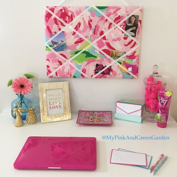 New Memo Board Made With Lilly Pulitzer Hotty Pink First Impression Fabric