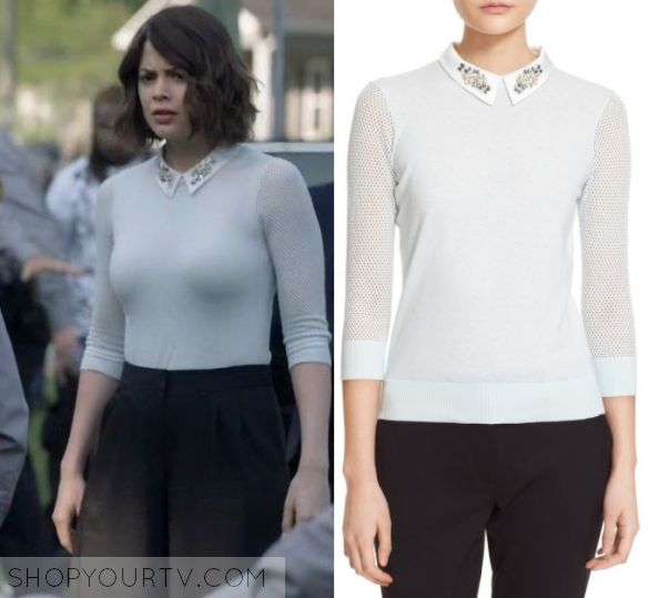 "Shots Fired: Season 1 Episode 7 Sarah's Embellished Collar Sweater | Shop Your TV Sarah Ellis (Conor Leslie) wears this light green mint mesh sleeved embellished collared sweater in this episode of Shots fired, ""Content of Their Character"".  It is the Ted Baker Helane Sweater."