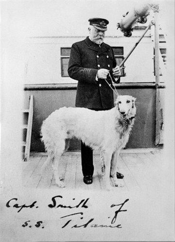 Titanic's Captain Smith on board the Titanic with his Irish Wolfhound called