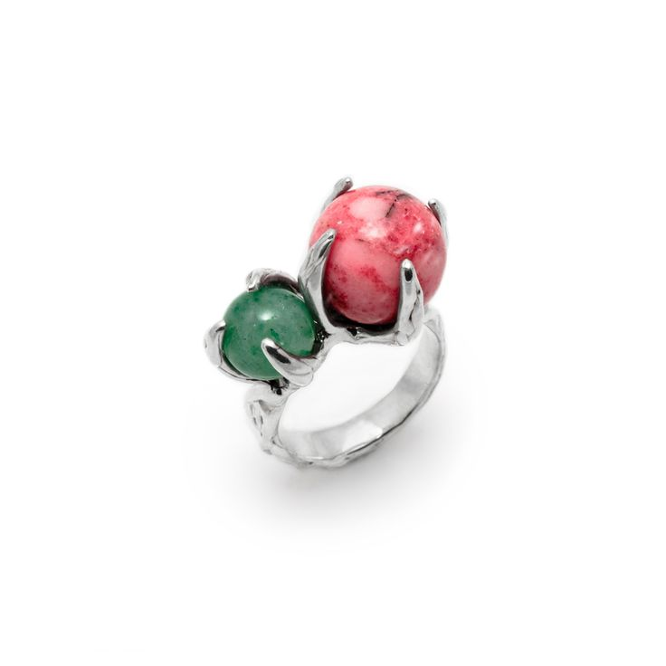 SPHERE RING SPUTNIK WITH RHODONITE AND AVENTURINE #pulse_jewellery  #sterling #silver #925 #jewellery #jewelry #ring #rings #fluid #liquid #sphere #gemstone #rhodonite #aventurine