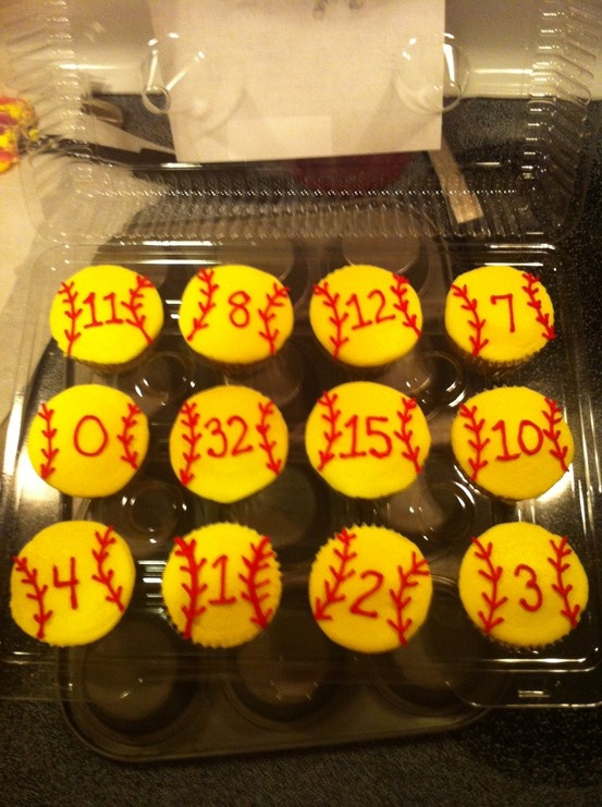 Softball cupcakes with players' numbers... Softball cupcakes with players' numbers... Softball cupcakes with players' numbers...