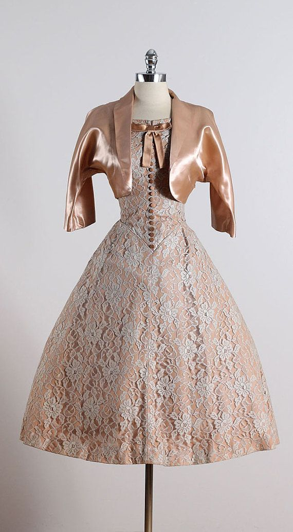 J'Attendrai ➳ vintage 1950s dress * copper satin with gray floral lace * tulle & acetate lining * button & bow bodice accents * matching bolero * metal