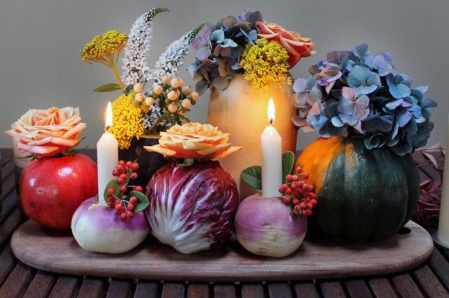 festive tablescape __ fruit & vegetables as vases & candle holders