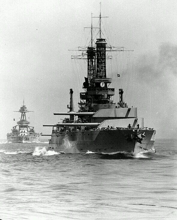 Battleships USS Idaho Foreground And Texas Steaming At The Rear Of Battle Line During Fleet Practice Off California Coast