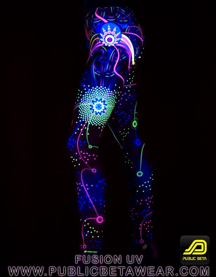 Glow in blacklight product. Leggings for active times: yoga, fitness, festival.