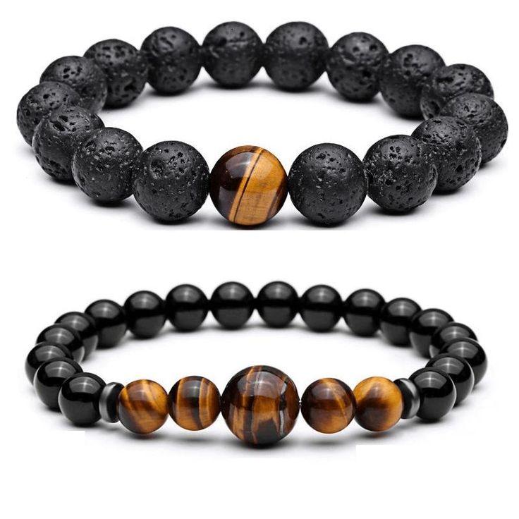 Tiger Eye & Lava Stone Bead Men's Bracelet [2PCE/SET]
