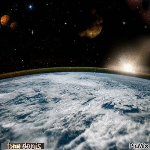 EARTH VIEW original backgrounds, painting,digital art by tonydanis GREECE HELLAS fantasy fantasia 3d animation imagination gif peace  space moon stars univers planets sun