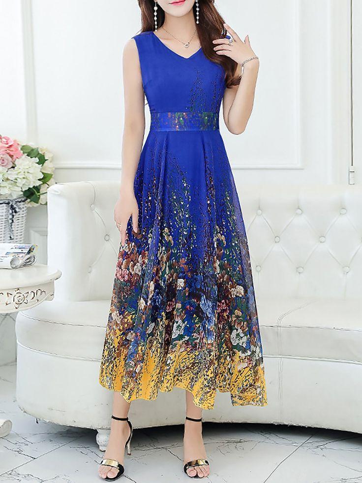 Elegant Sleeveless Chiffon V Neck Midi Dress   Evening ...