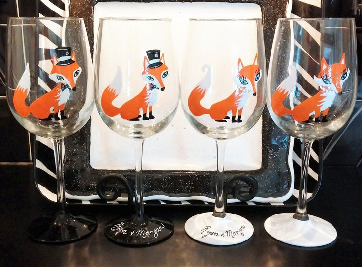 Fox Couples hand painted wine glasses by GlassesbyJoAnne on Etsy