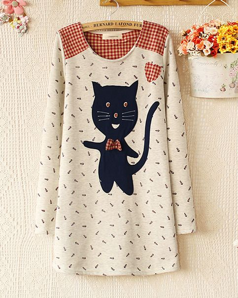 Cat fish bone autumn new women T-shirt printing plus velvet sweater from women sweater coats boutique