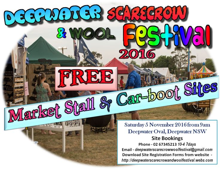 2016 - Market Stall sites are free - registration still required - forms available on website  http://deepwaterscarecrowandwoolfestival.webs.com/