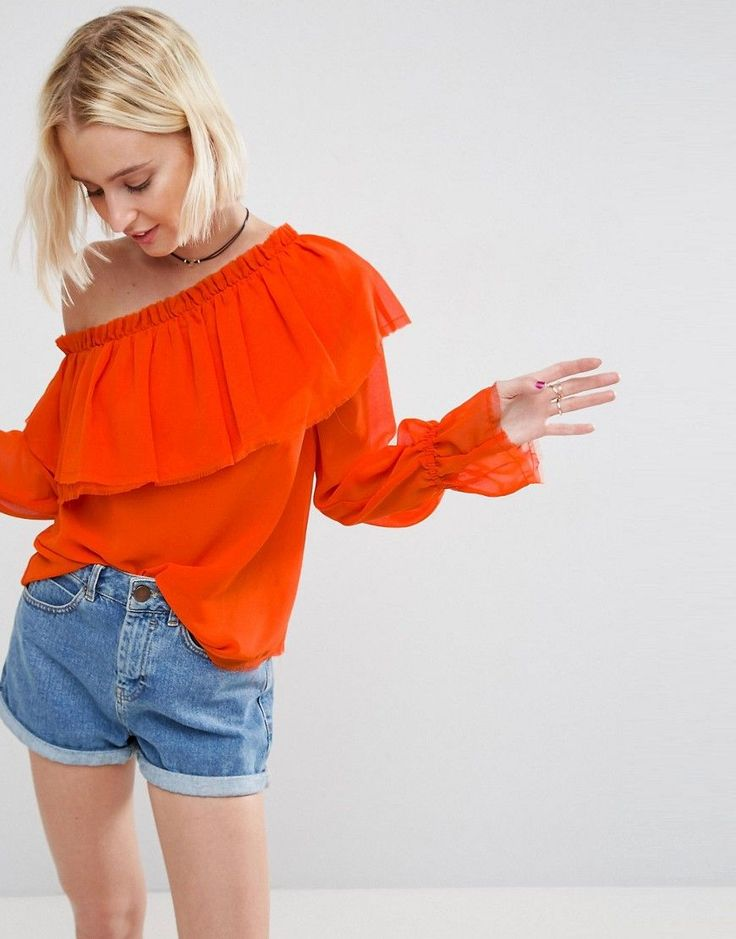 ASOS One Shoulder Blouse with Ruffle - Orange