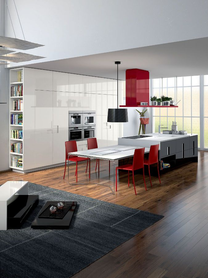 Carrè #kitchen by @Ernesto Acosta Acosta Acosta Acosta Acosta Meda #interiors #red