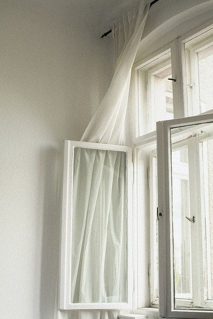 White curtains in the bedroom