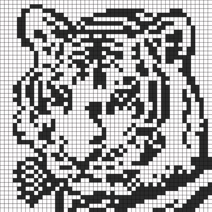 Black And White Tiger Face For Perler Or Square Stitch bead pattern