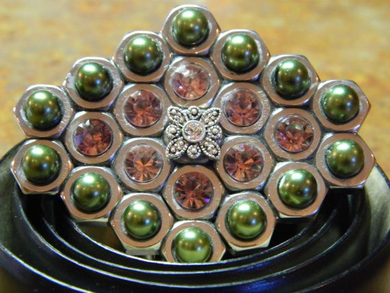 Handmade Belt Buckle with Swarovski Crystals hex nuts