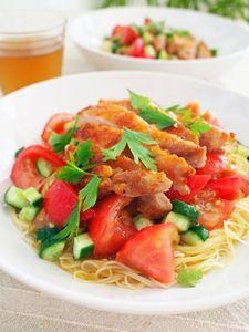 チキンと柚子胡椒サルサの冷製パスタ