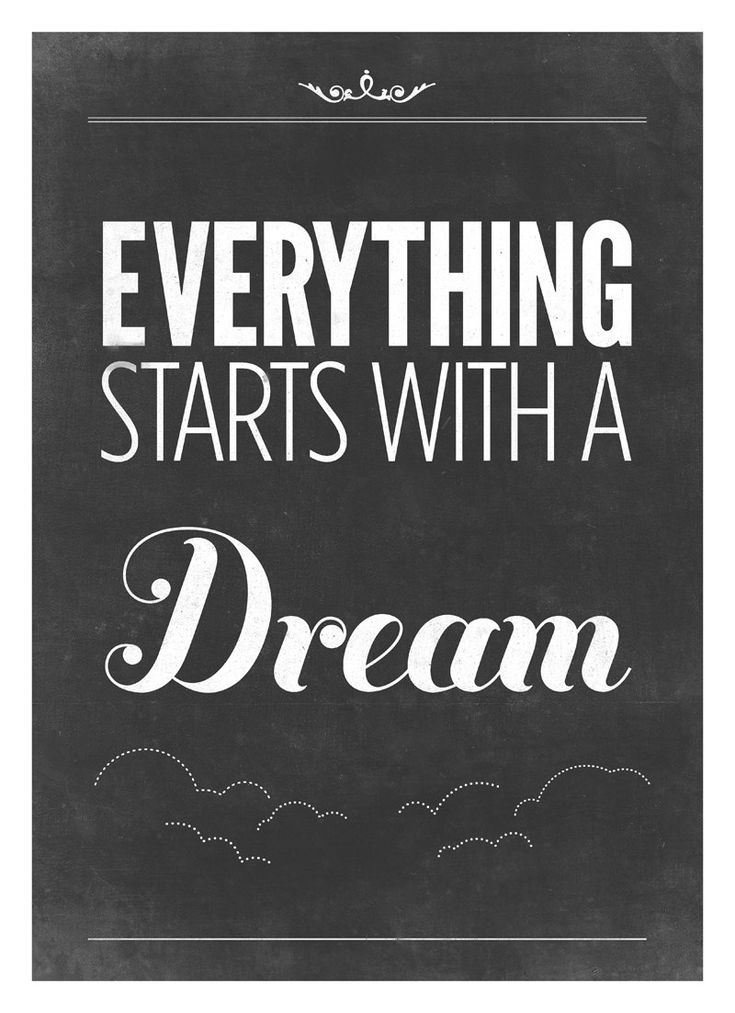 Inspiring Quote print Typography poster - Vintage-Style black and white art print - Everything starts with a dream, via Etsy.
