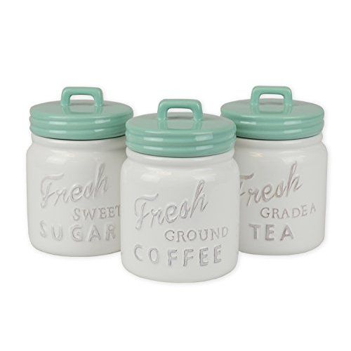dii everyday classic kitchen design ceramic canisters with lid for sugar coffee tea aqua learn more by visiting the image link