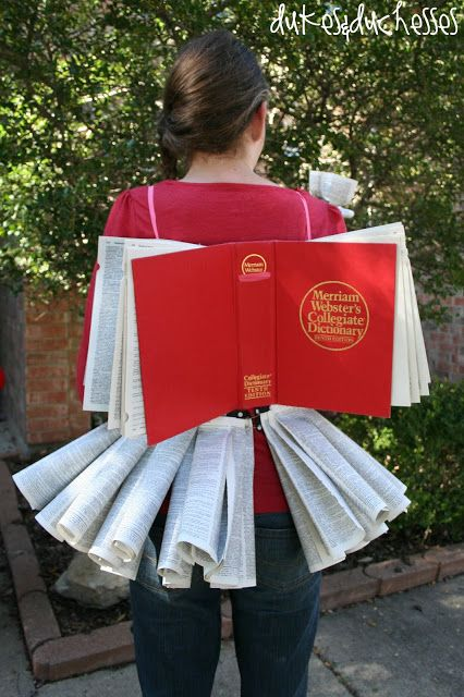Halloween costume made of a book.