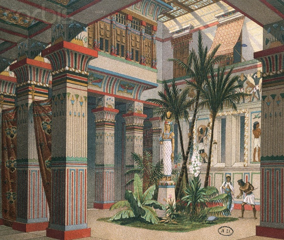 Print of the interior of an ancient egyptian palace by for Ancient roman interior decoration