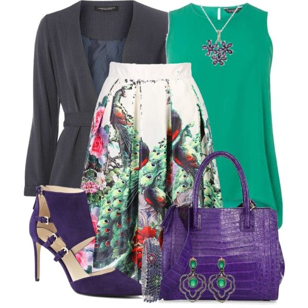 Peacock Floral Skirt by jennifernoriega on Polyvore featuring мода, Dorothy Perkins, WithChic, Nine West, Nancy Gonzalez and NOVICA