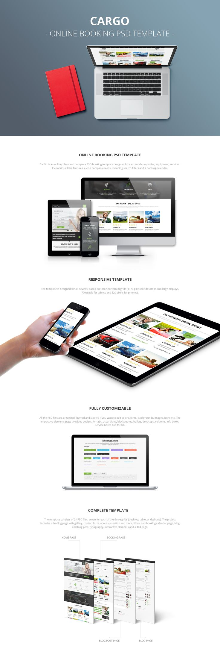CarGo is a clean and complete booking PSD template ideal for cars, equipment, services and more.