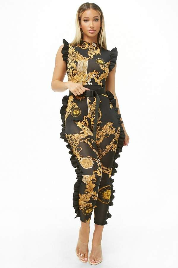 Forever 21 Baroque Ruffle Trim Jumpsuit Forever 21 In 2018