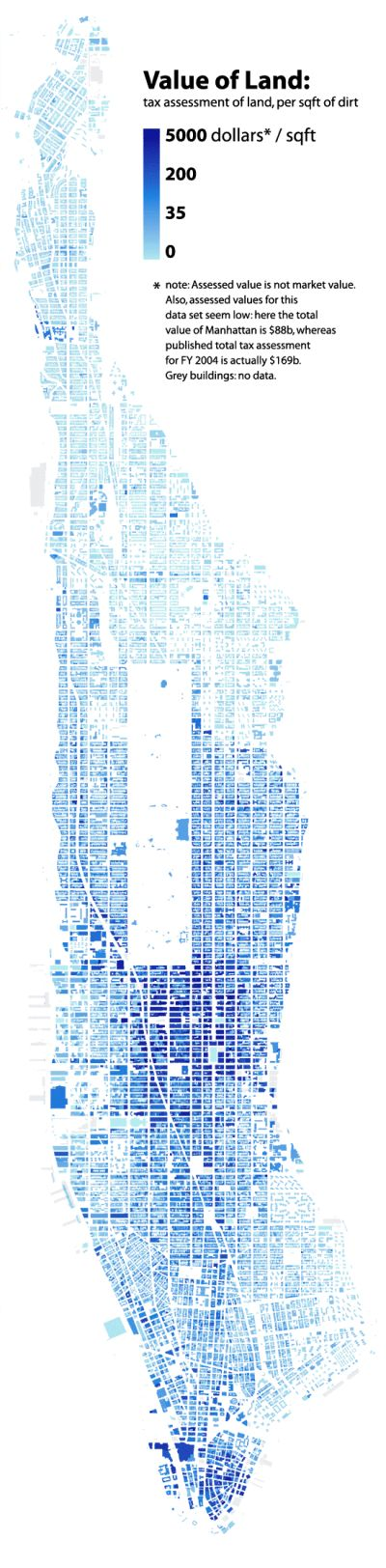 Manhattan Building Heights as Land Value - Blog About Infographics and Data Visualization - Cool Infographics