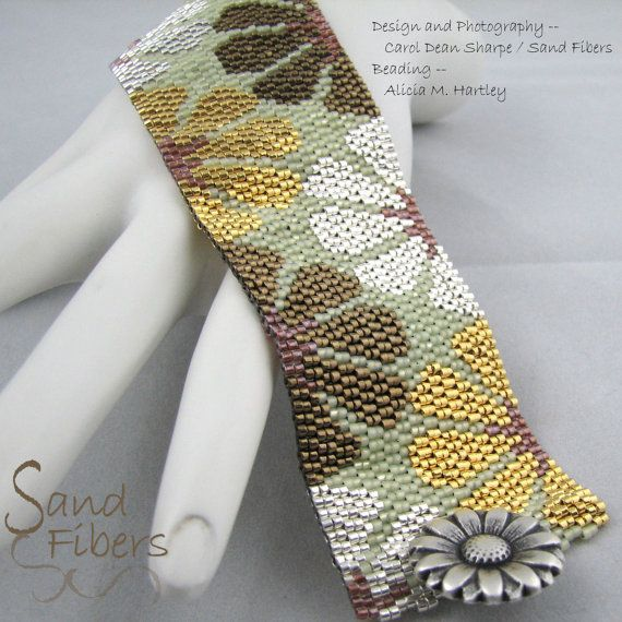 Peyote Pattern Mixed Metal Blooms Peyote Cuff / by SandFibers