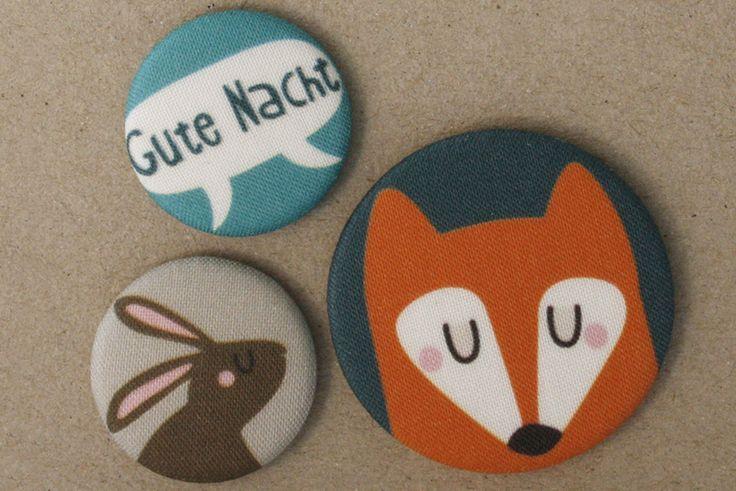 Fuchs und Hase Stoff-Buttonset von käselotti auf DaWanda.com