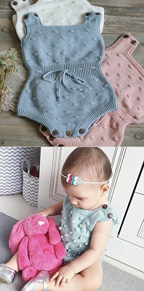 Wennikids Baby Boys and Girls knitting Sweater Crochet Romper Climbing Clothes Medium Blue
