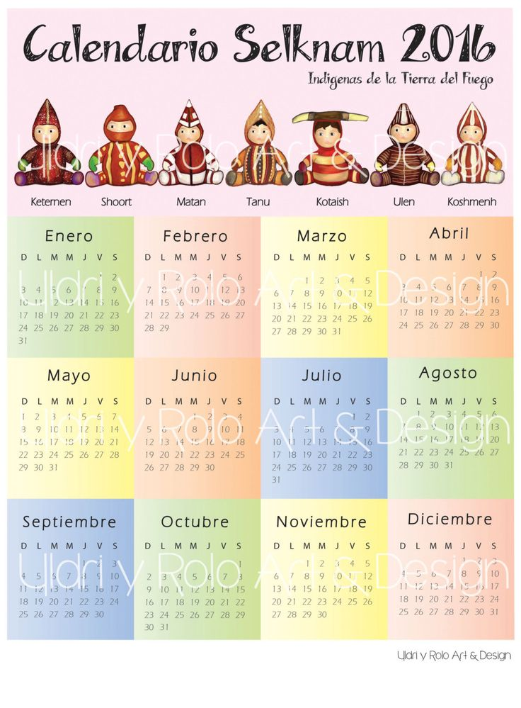 Calendario Selknam de UildriyRolo en Etsy