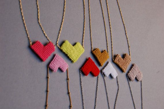 Heart Macrame Necklaces by Kekkavics on Etsy