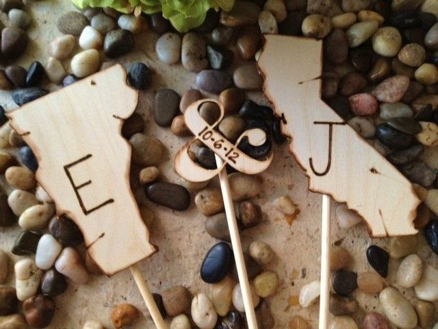 Wedding Cake Toppers Shaped in YOUR State with YOUR Initials and Wedding Date - 3 Piece Set Includes Ampersand with Wedding Date. $39.99, via Etsy.