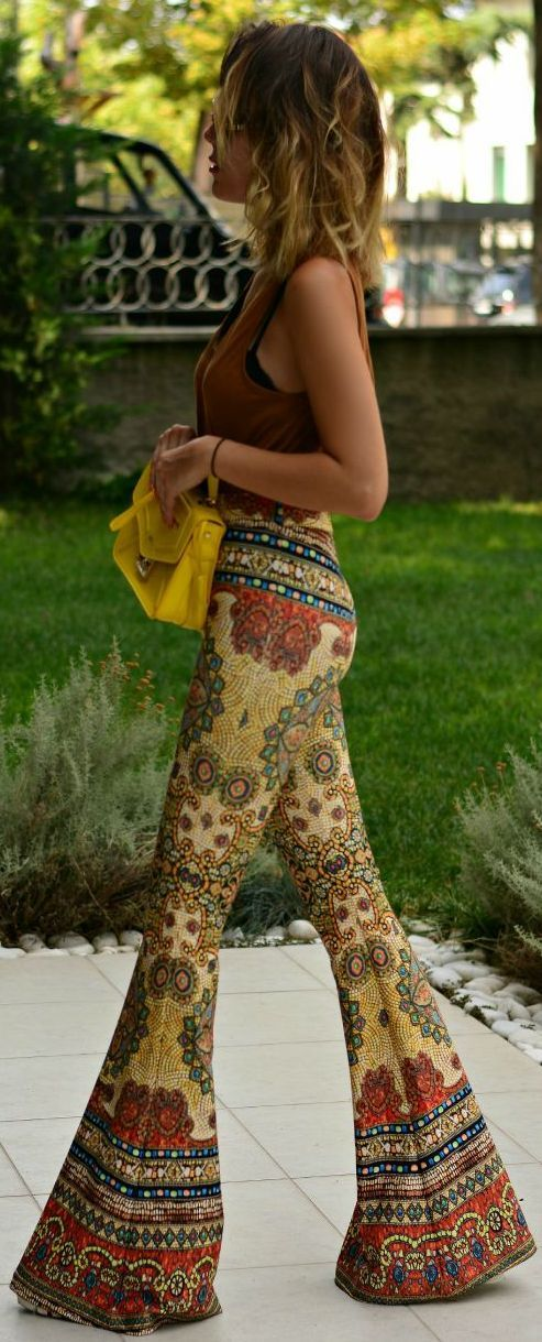 Fall Colors 70's Amazing Print Flare Pants ╰☆╮Boho chic bohemian boho style hippy hippie chic bohème vibe gypsy fashion indie folk outfit╰☆╮