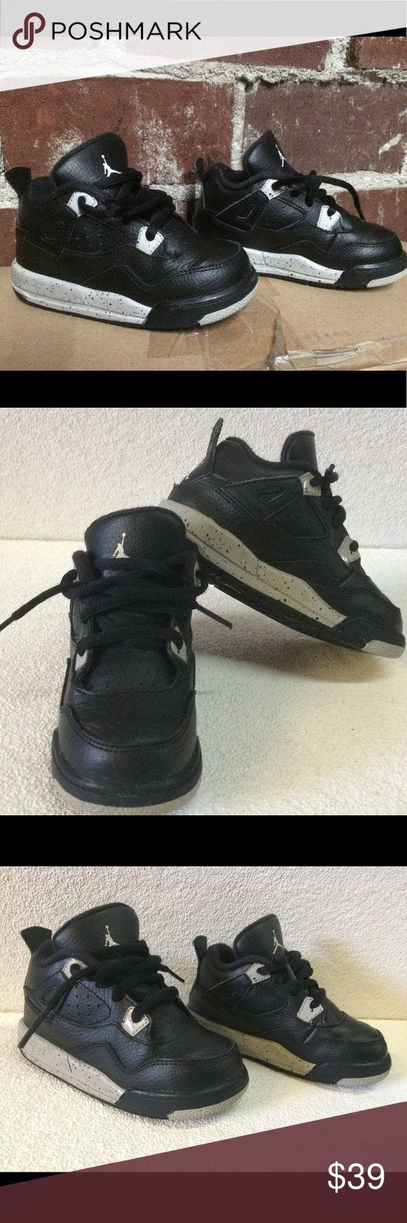"""Air Jordan 4 Retro LS BP size 8C Air Jordan 4 Retro LS BP    Nike Air Jordan 4 Retro LS BP """"Oreo""""  Size: 8C  Colorway: Black/Tech Grey-Black  Year of Release: 2015  Condition: Used with out Box.    Great pair of Air Jordan Retro basketball sneakers.100% authentic.  Used in good condition. Price not negotiable.   Please see all pictures for details and condition on this item.  Thanks for looking and please check out my others listings. Jordan Shoes Sneakers"""