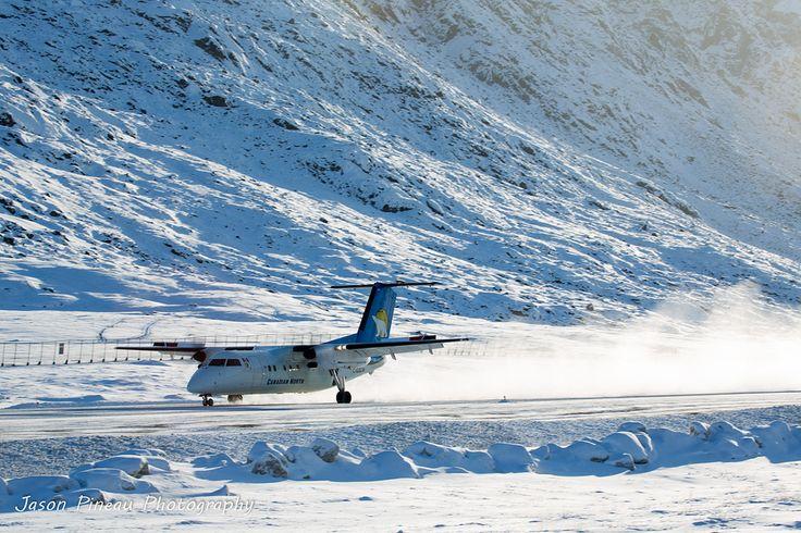 Canadian North Dash 8-300 Arriving in Pangnirtung, Nunavut.