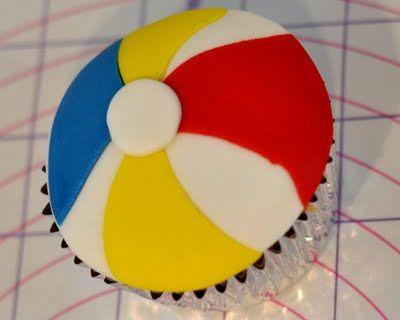 Beach Ball Cupcakes ~ beach or pool party