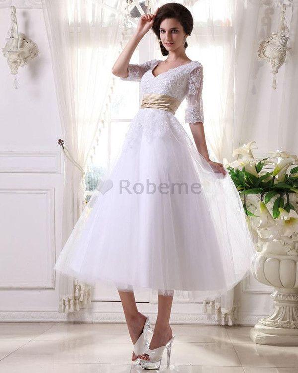 Robe de mariée romantique de princesse ceinture en étoffe en satin élastique appliques