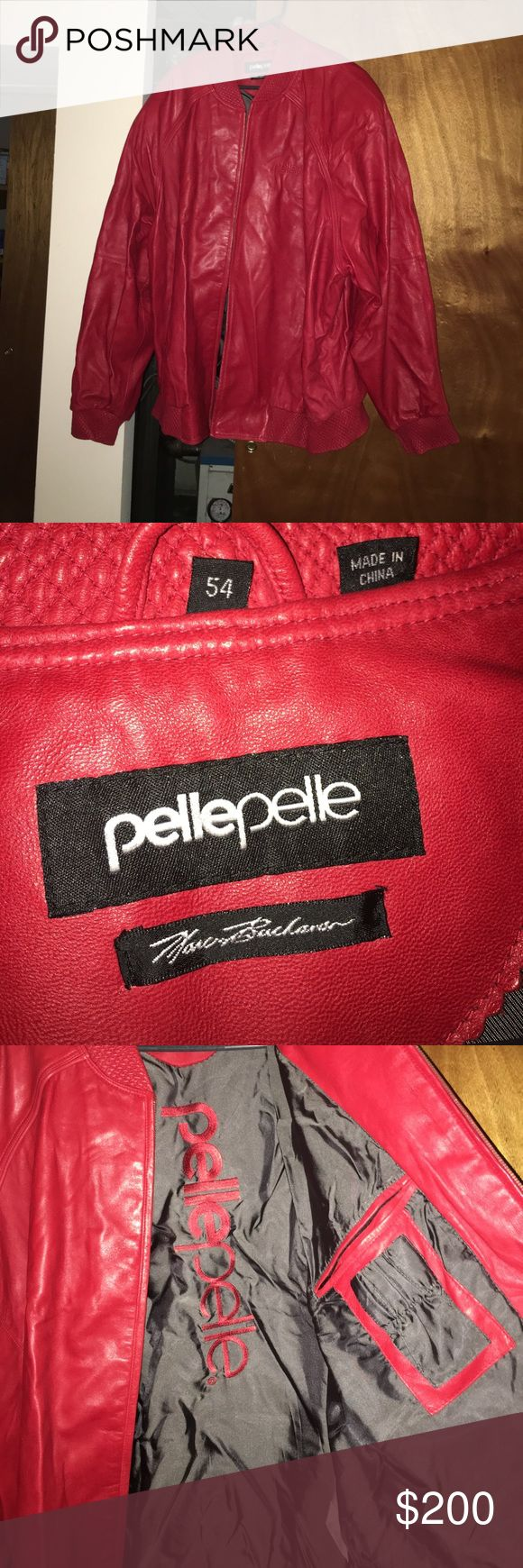 Red Pelle Pelle leather jacket Previously loved but still in great condition :) Pelle Pelle Jackets & Coats
