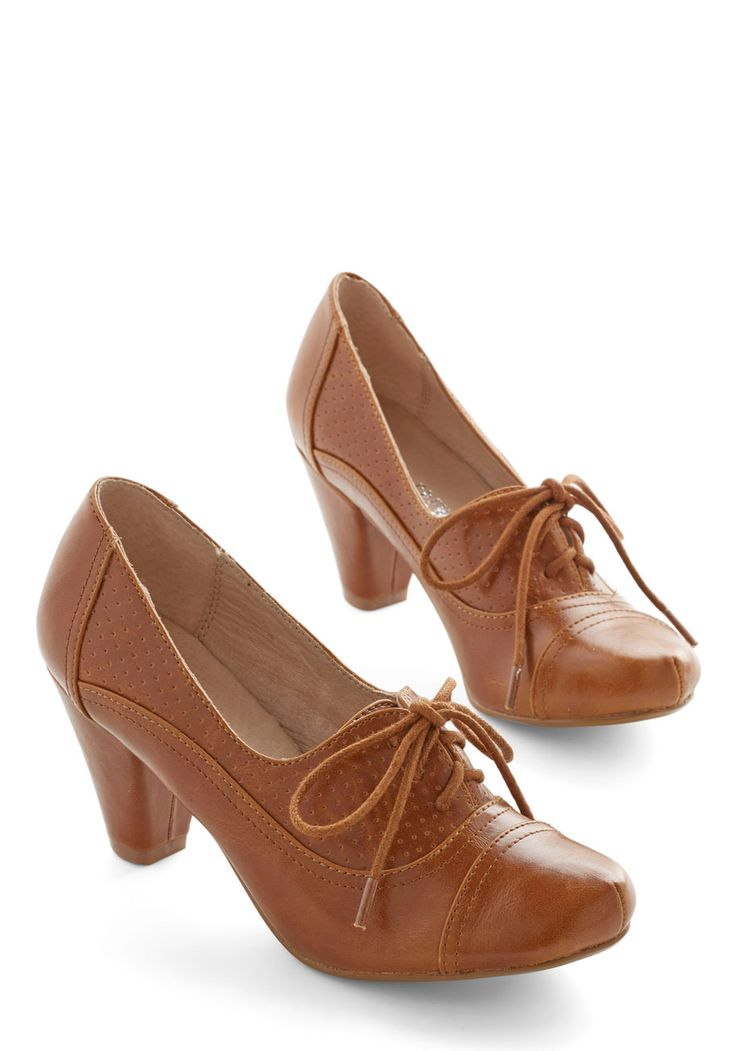 Right Here Heel in Brown by Chelsea Crew - 30s, Brown, Solid, Work, Lace Up, Mid, Variation, 60s, Top Rated, Press Placement