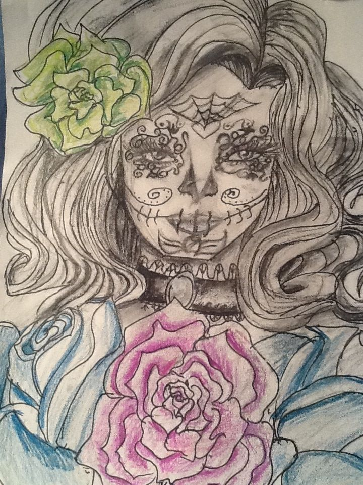 81 best amazing drawings of skull faces with flowers for Amazing drawings of roses