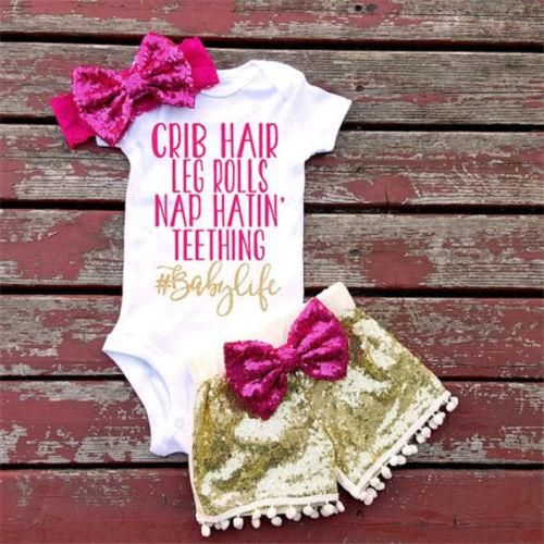 3Pcs Cute Baby Girl Top Romper Sequin Pants Outfits Set Clothes Fashion 0-24M