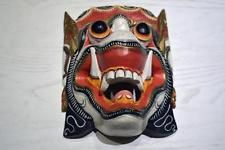 Collectors Carved Wooden Handpainted Tibetan Nepalese Mask