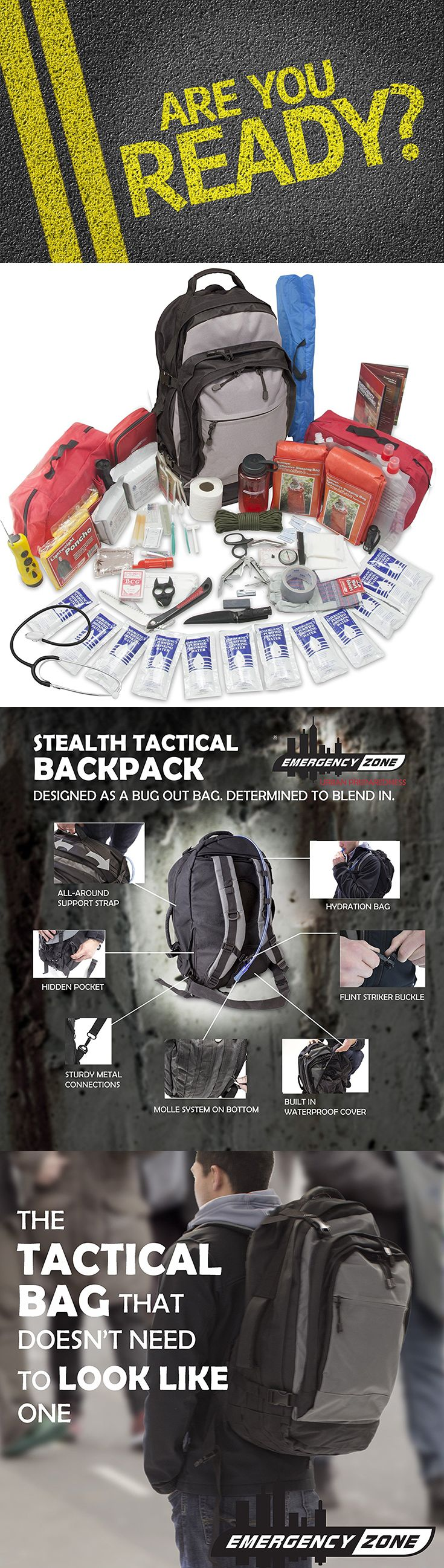Stealth Tactical Bug-out Bag-2 Person, Emergency Urban Survival 72 houKit, Discrete Design for Urban Survival