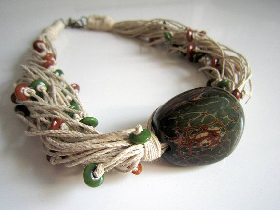 Dark Green Tagua Nut Beads Organic Linen Necklace by ArteTeer.etsy.com