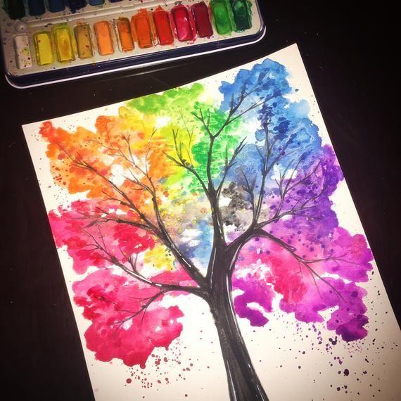 Articles Similaires A Aquarelle Arbre Peint A La Main Colore